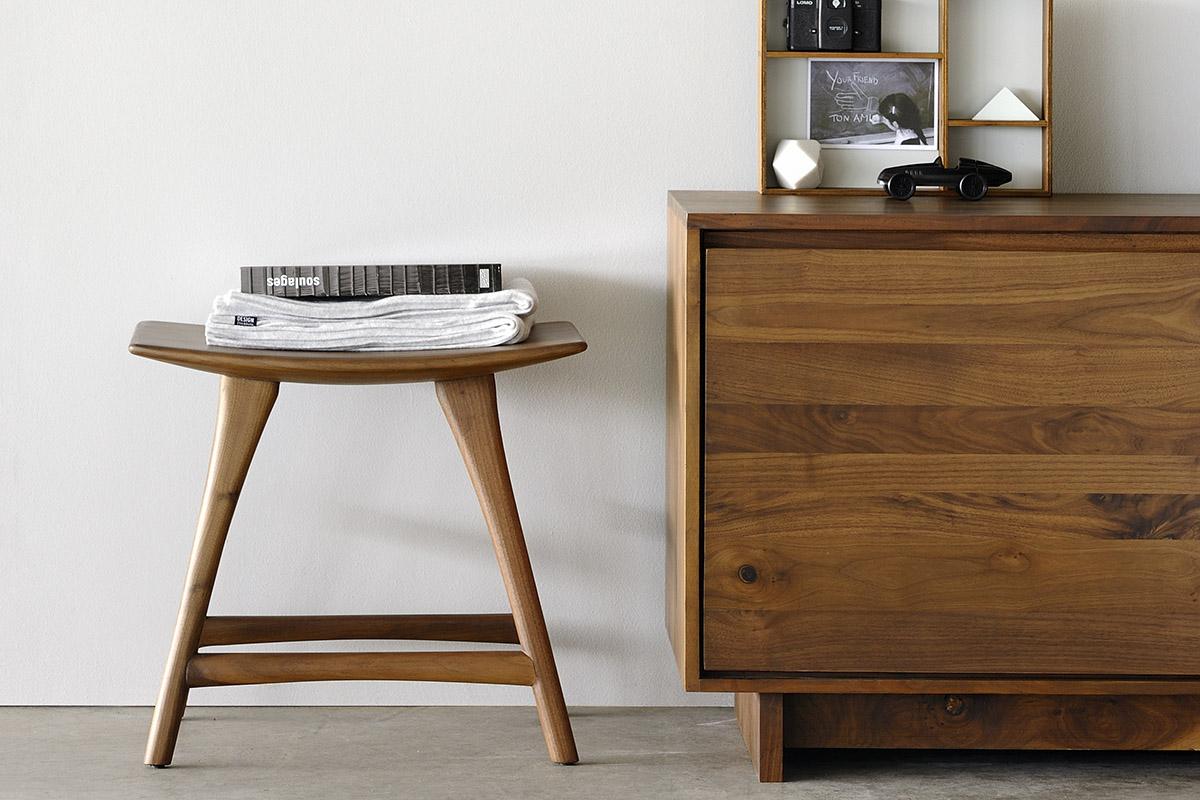Ethnicraft Osso stool in solid walnut