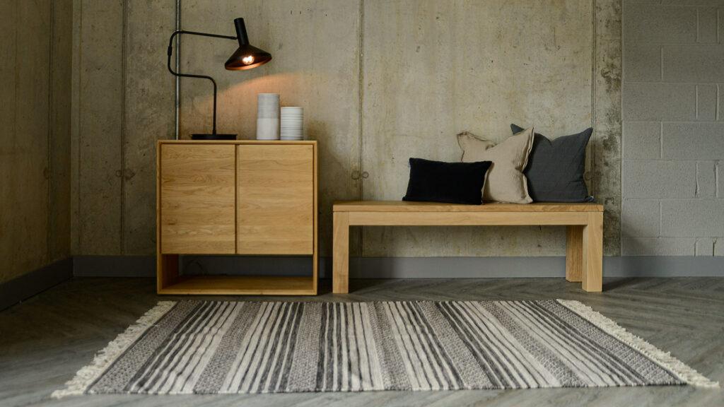 boho woven cotton rug ecru and charcoal
