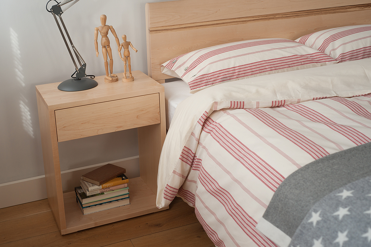 Tall Maple Cube bedside table with 1 drawer for storage. UK made in a choice of woods.