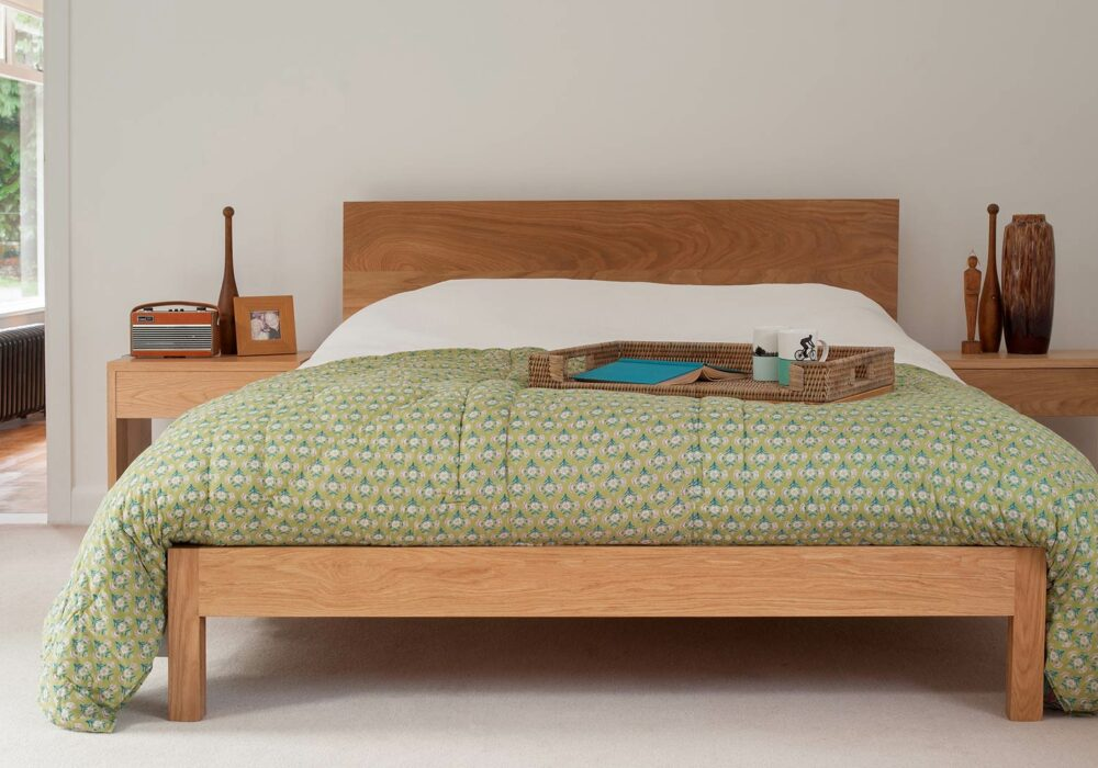Contemporary oak Malabar bed hand-made in Sheffield from solid wood sustainably sourced