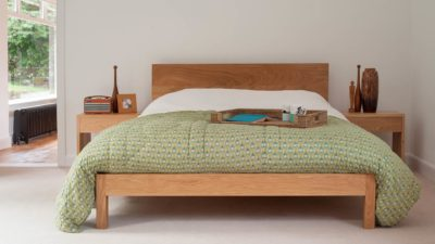 Contemporary oak bed