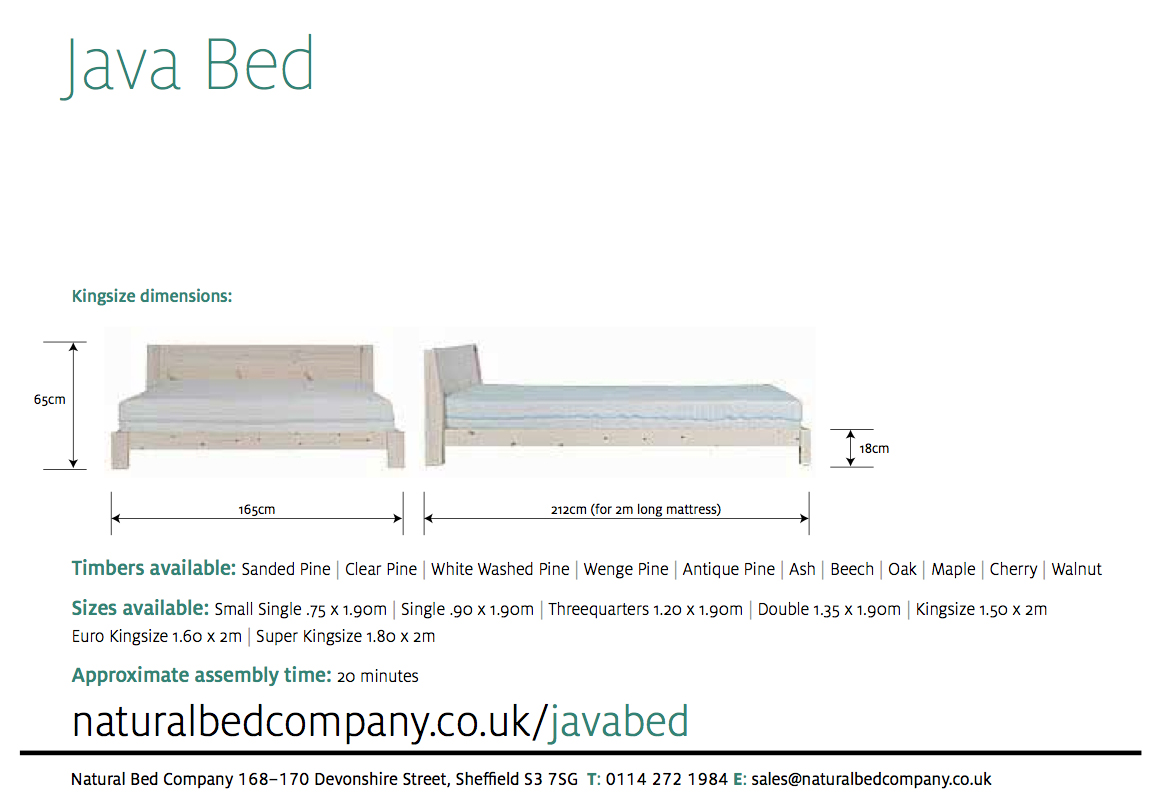java bed with dimensions