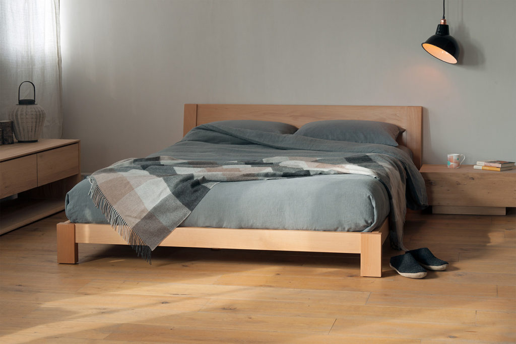 Java a modern low solid wood hand crafted bed in beech