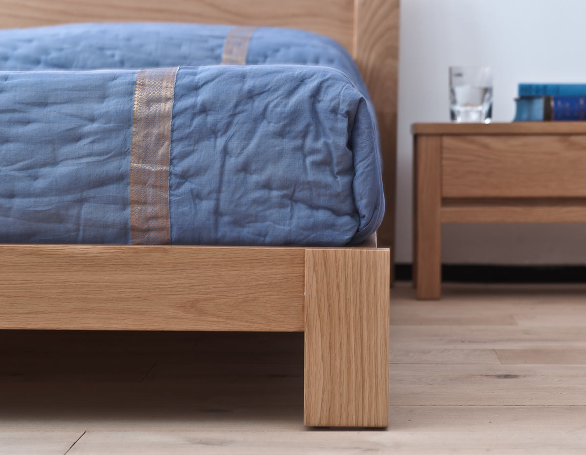 java low bed in solid oak