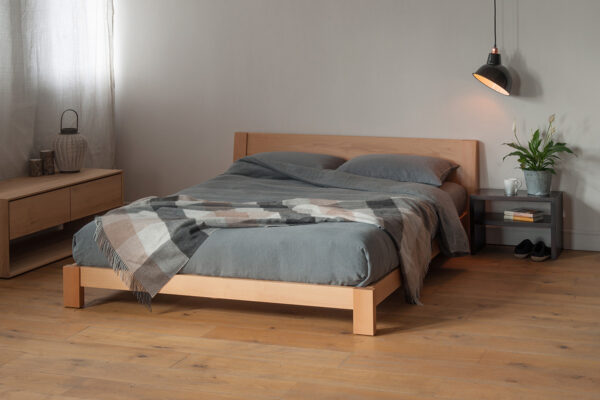 Scandi look bedroom with Low wooden Java bed made from Beech