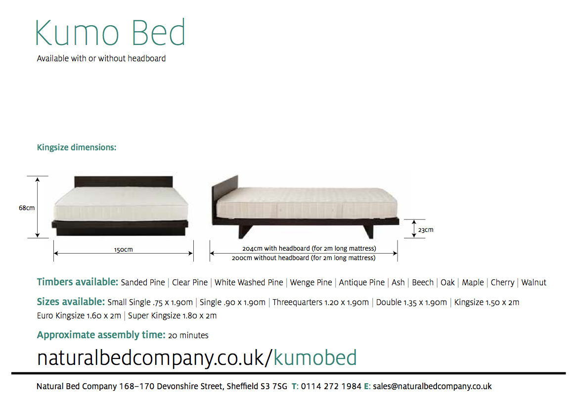 kumo bed with dimensions