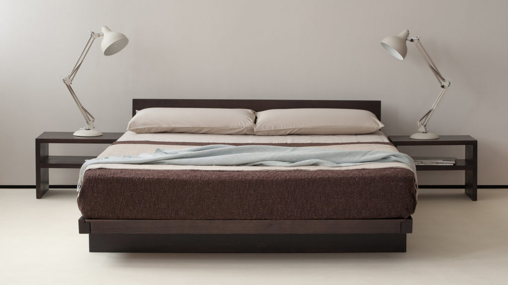 Kumo low wooden Japanese style bed shown with Kyoto shelf tables