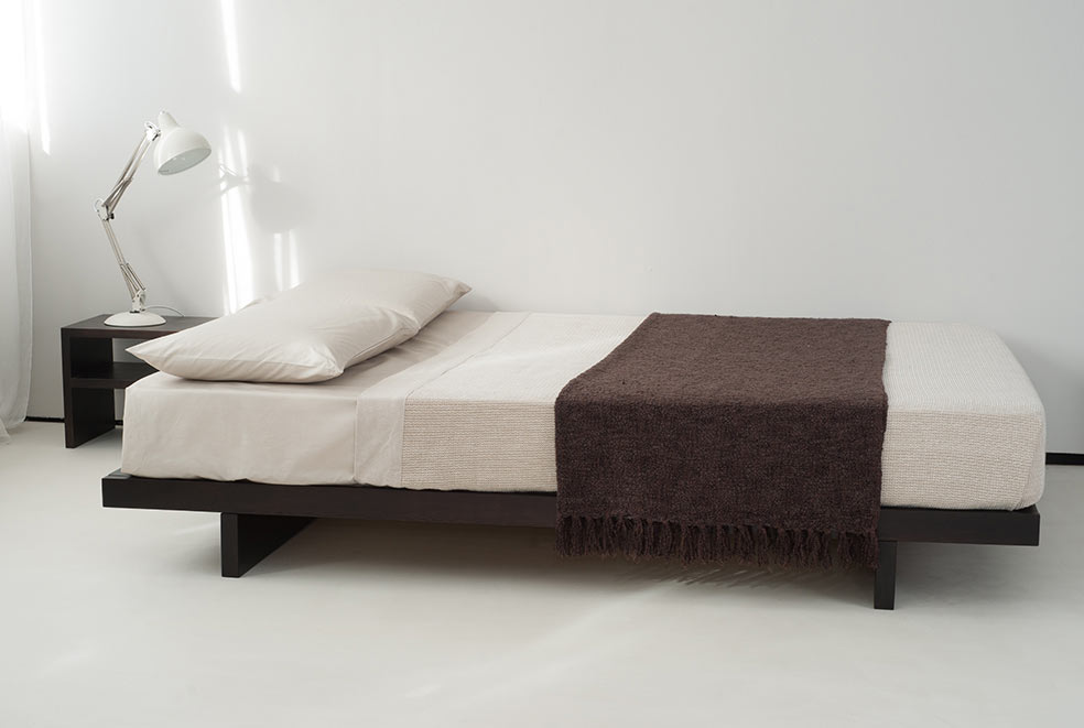 Kumo low wooden beds japanese style natural bed for Low to floor single bed