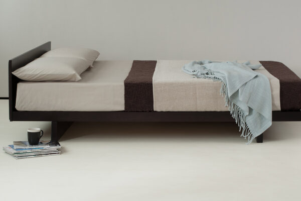 Kumo a low wooden japanese look bed has an optional headboard