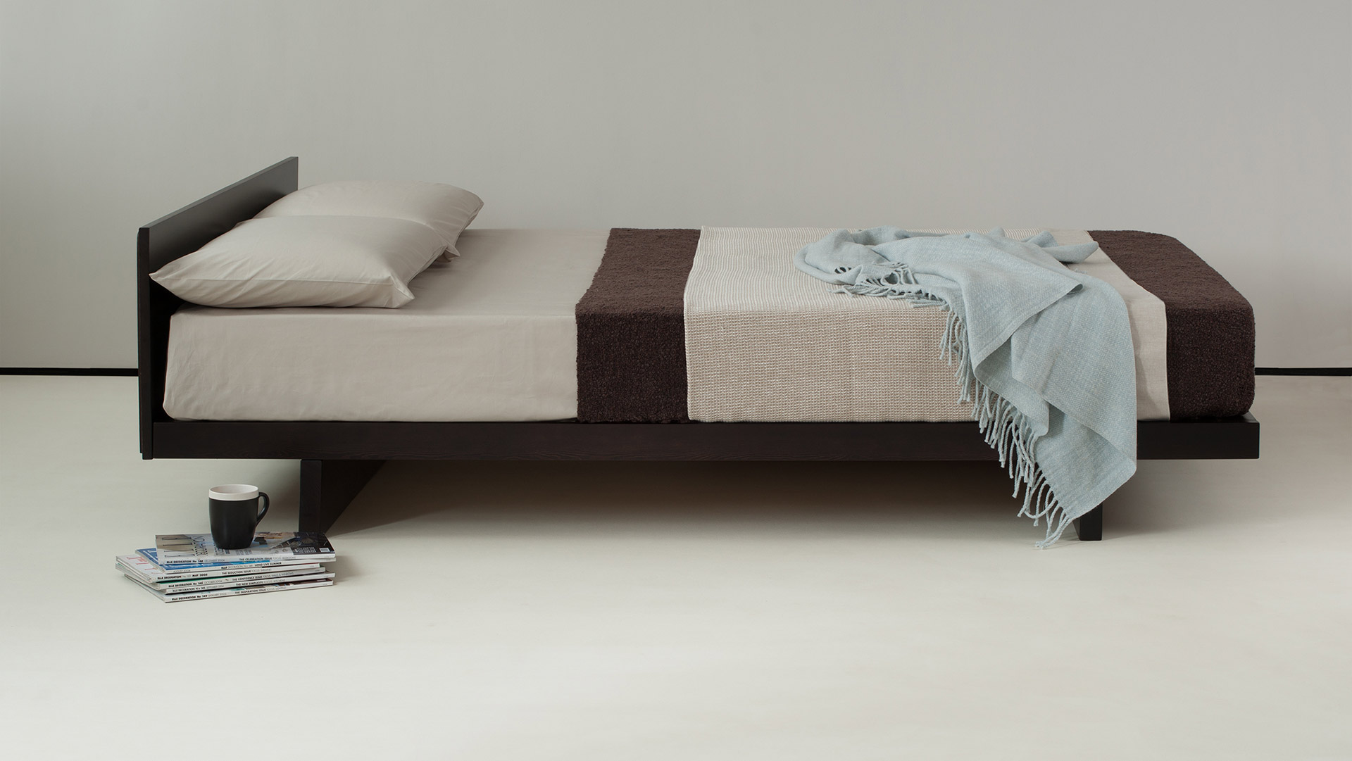 Kumo Low Oriental Bed With Headboard Natural Bed Company