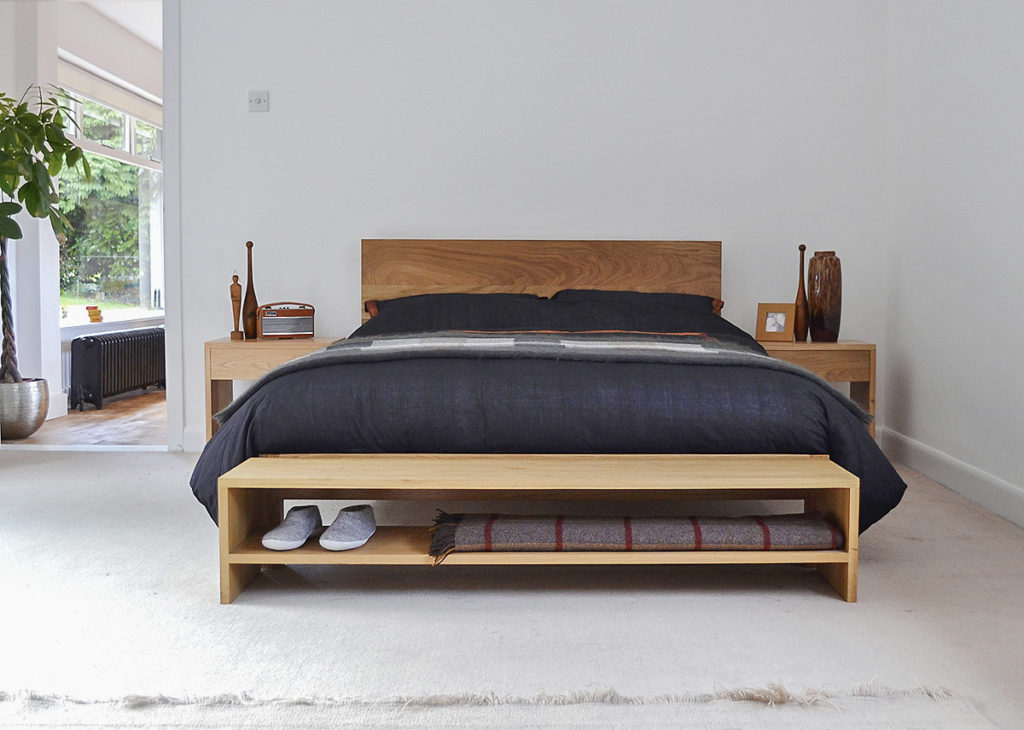 Modern solid oak bed - the Malabar. Hand crafted in Britain and available in a choice of woods.