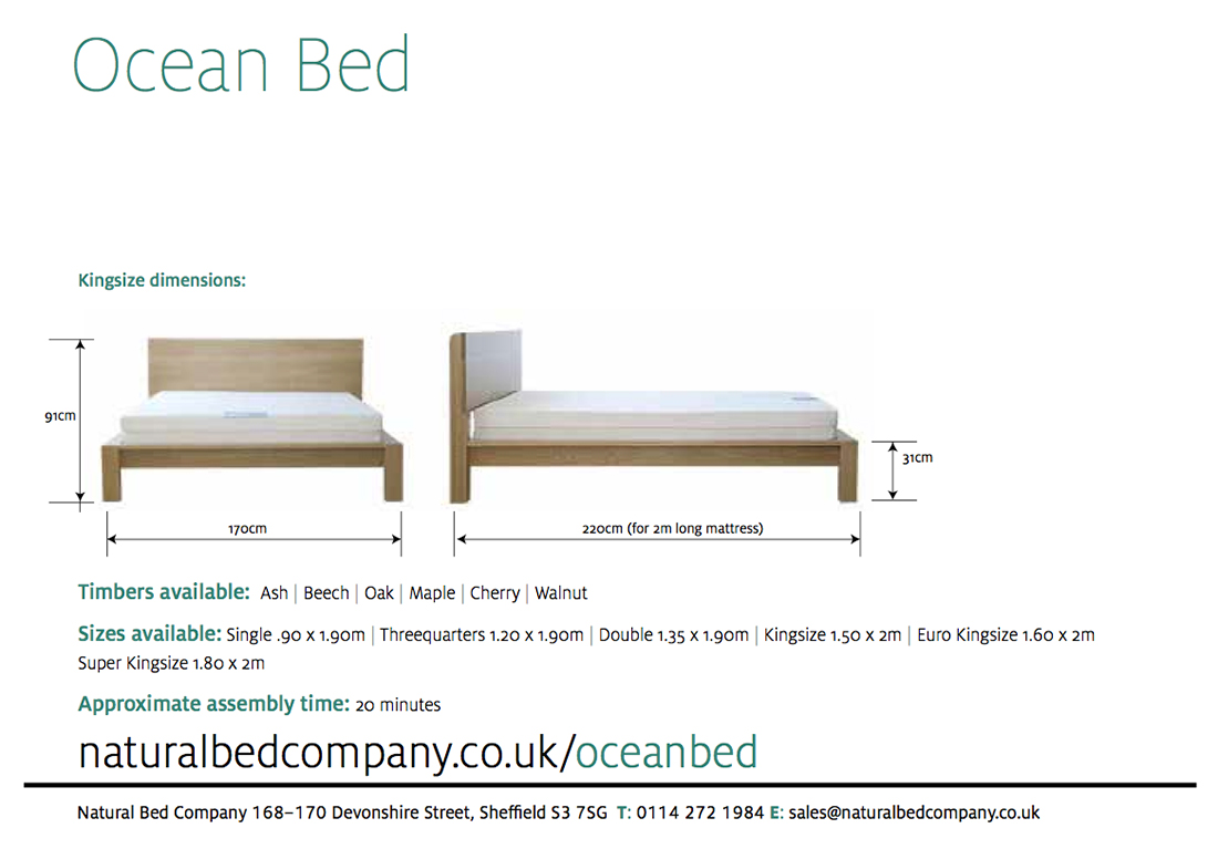 ocean bed dimensions and size options