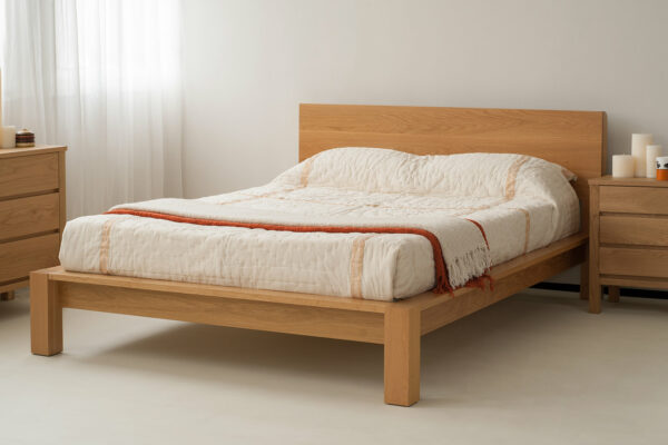 Ocean bed is a chunky contemporary hand made wooden bed shown here in oak
