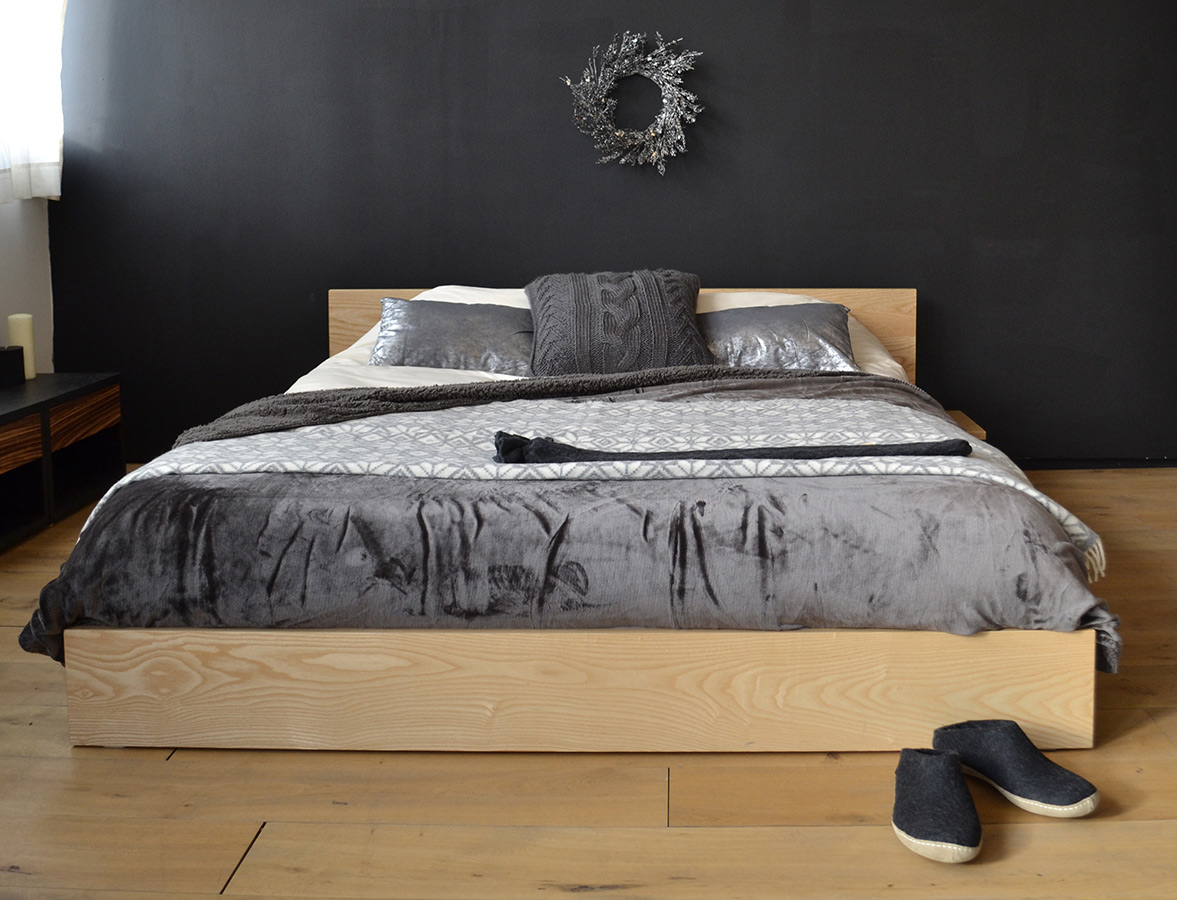Kulu low platform bed hand made from solid wood