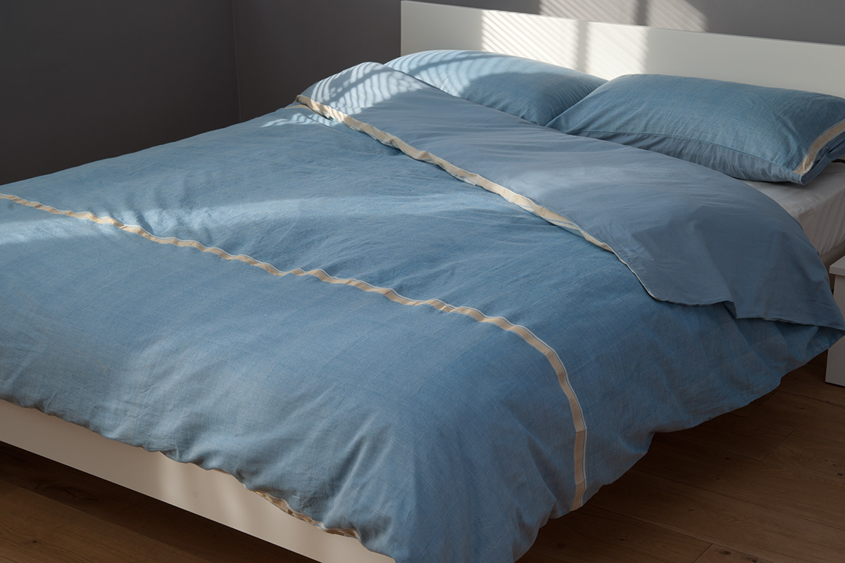 Ethiopia Blue Cotton Duvet Cover Natural Bed Company