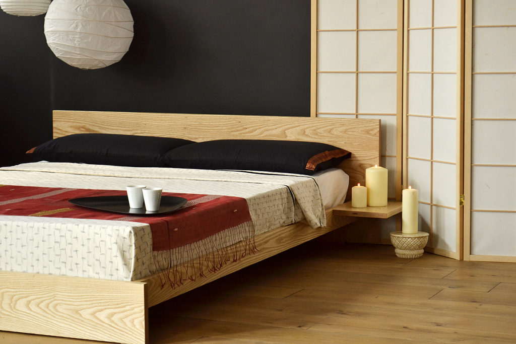 Japanese style low wooden Kulu bed. Comes in a choice of wood and a range of sizes.