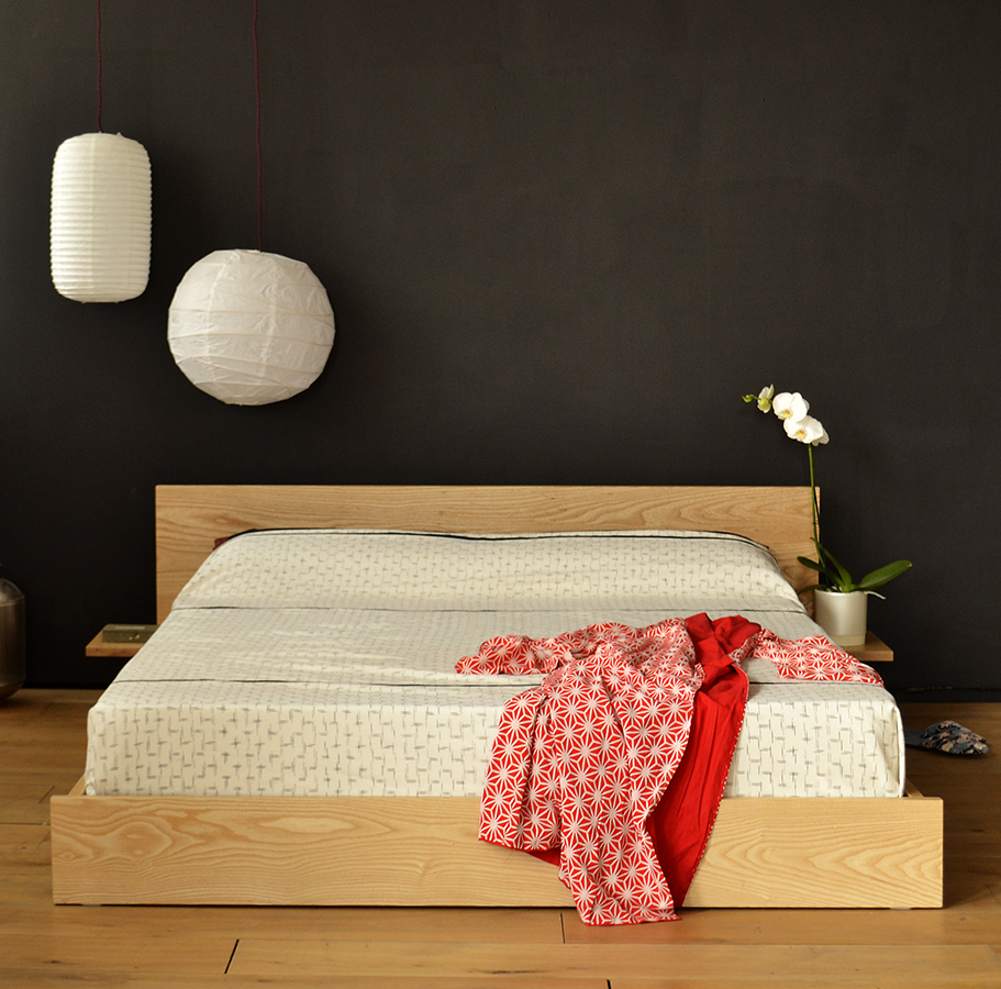 Kulu low wooden bed or Futon base. Hand made in UK from solid timbers and in a range of sizes.