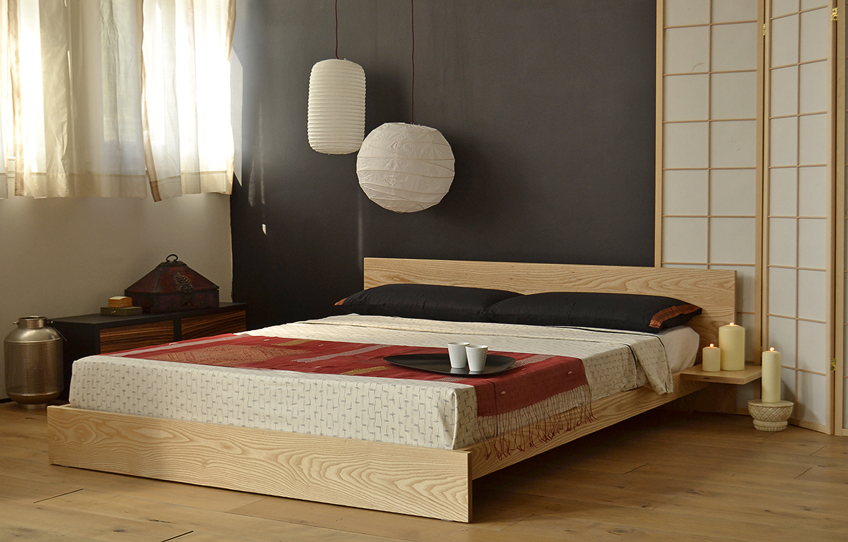 Japanese style bedroom featuring our low wooden Kulu platform bed in solid Ash.