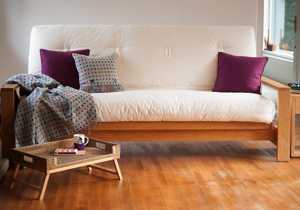 Cuba a wooden sofa bed with hand made futon mattress
