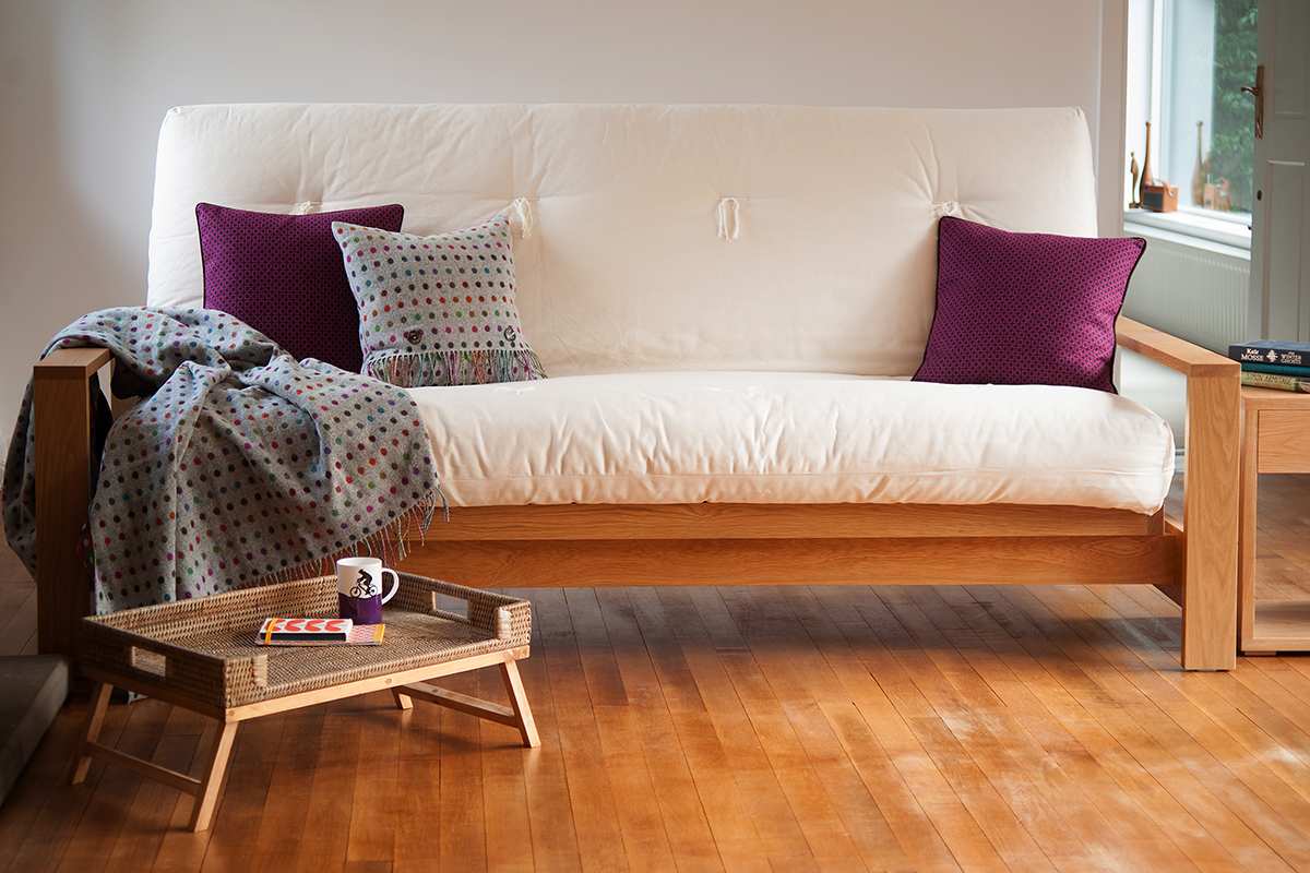 Cuba a wooden sofa bed with hand made futon mattress