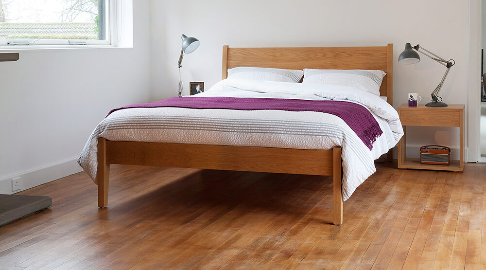 Our Contemporary classic Zanskar bed comes in a range of sizes and wood options.