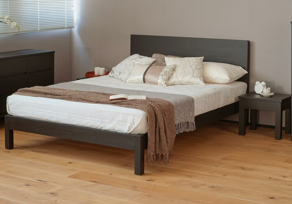 A black painted version of the Contemporary Oak Malabar bed