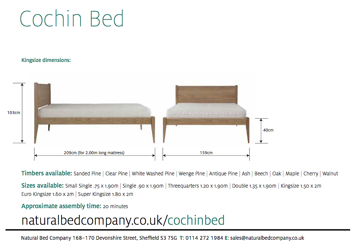 Cochin bed with size options and dimensions shown