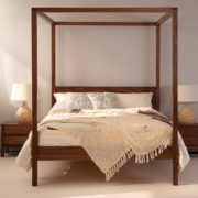 orchid four poster wooden bed