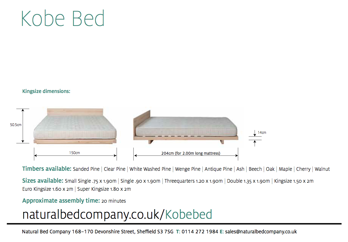 Kobe low wooden bed dimensions and bed sizes