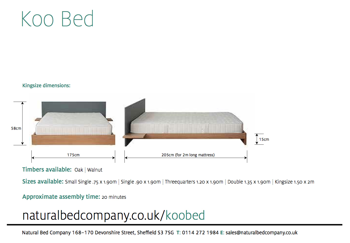 koo bed showing dimensions and size options