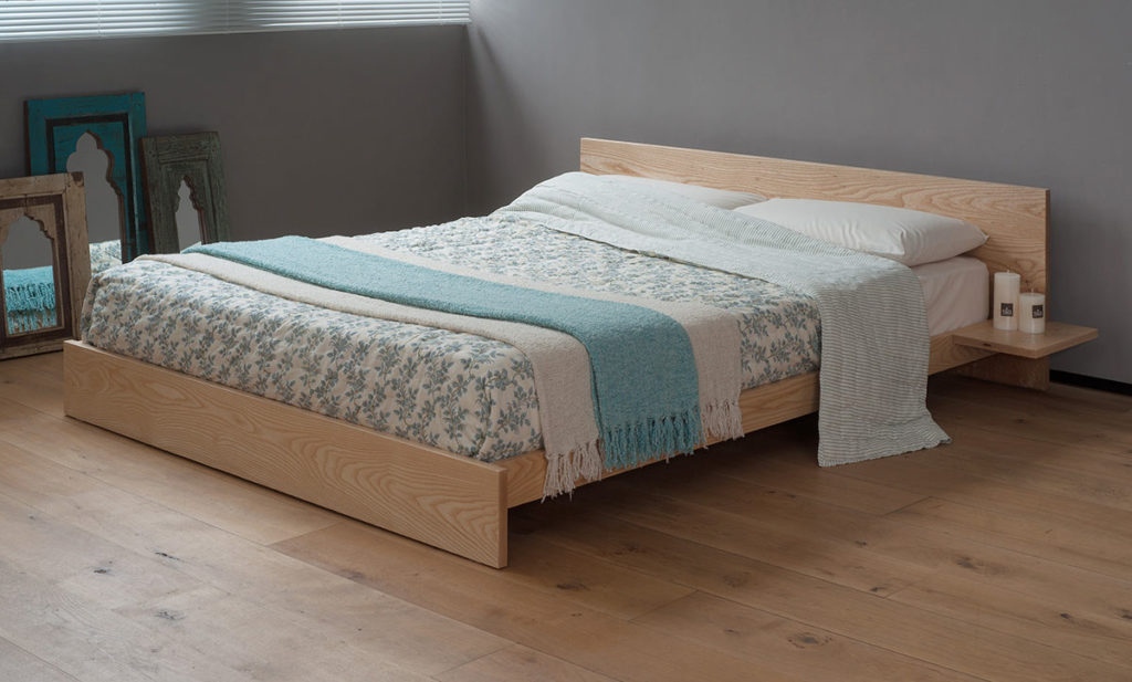 Kulu wooden platform bed is hand made to order from a choice of solid woods