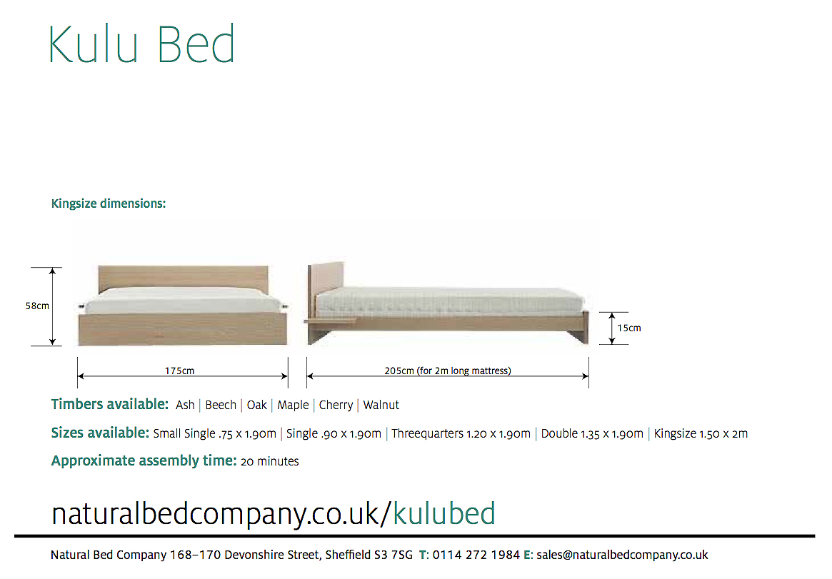 kulu bed with dimensions