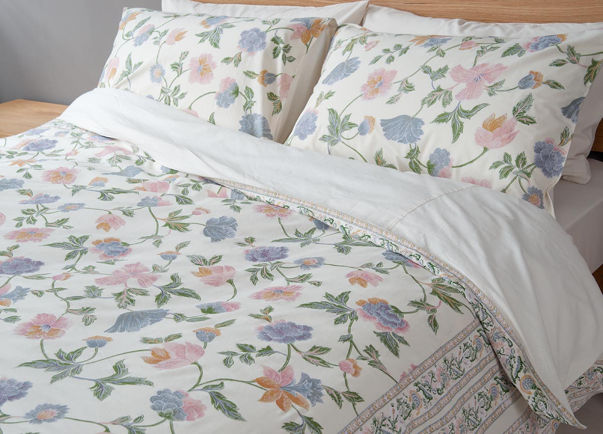 Manali Floral Duvet Cover Natural Bed Company