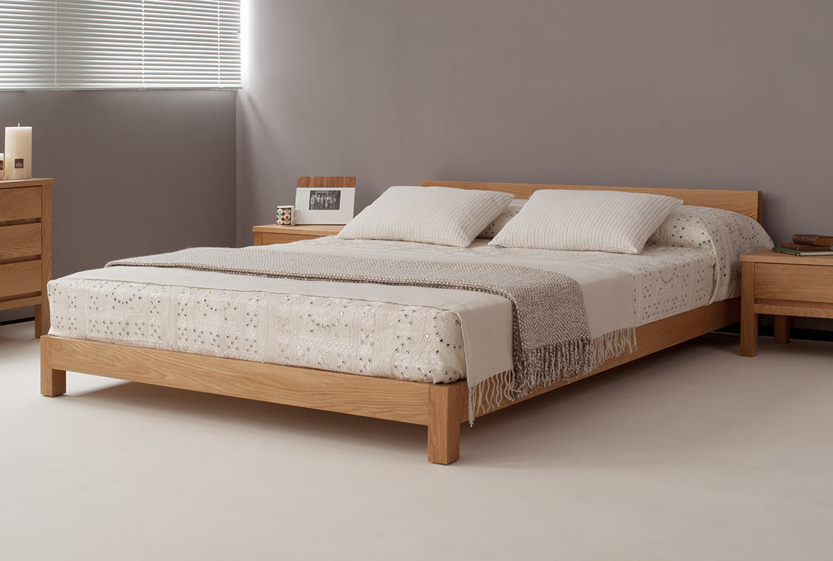 Nevada low wooden contemporary bed made from sustainably sourced solid Oak