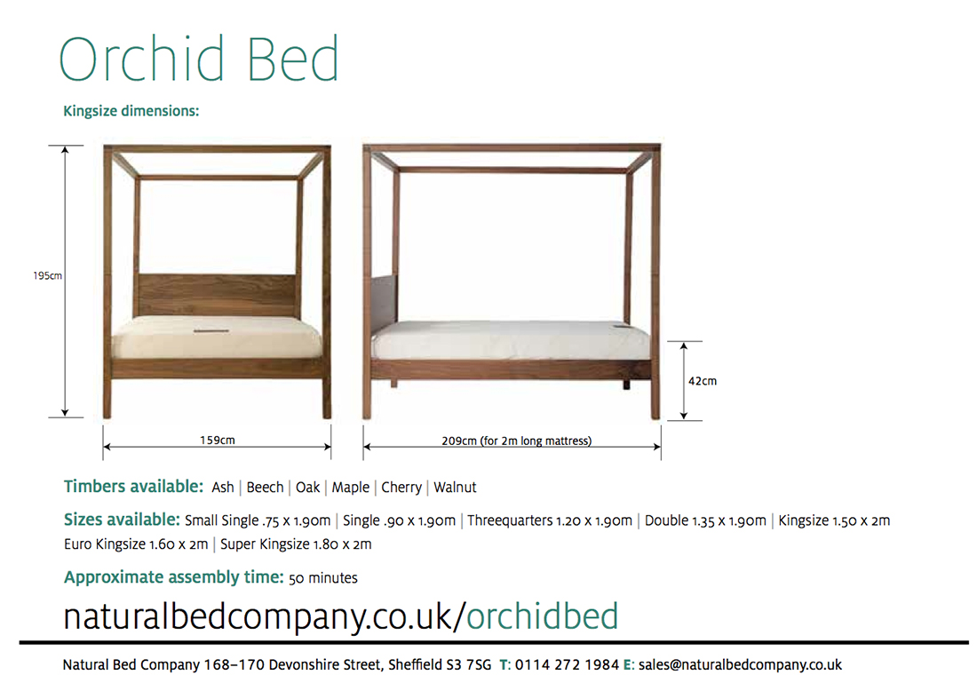 orchid 4 poster wooden bed dimensions and size options