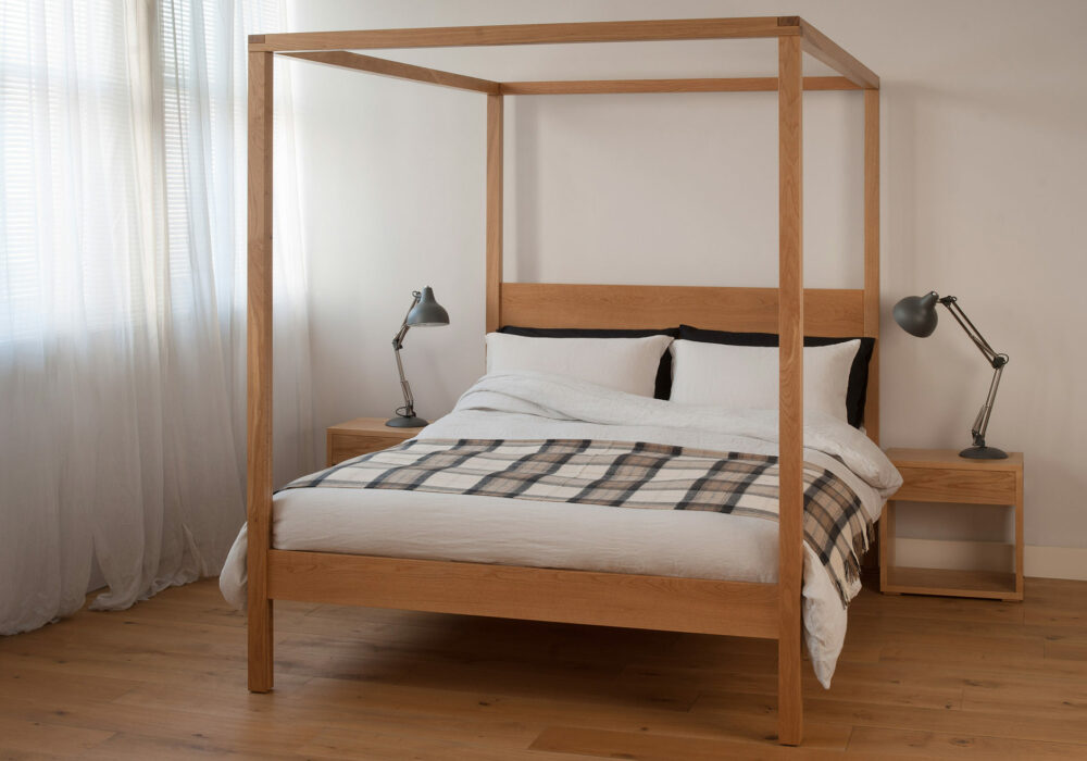 Orchid a contemporary solid wood four poster bed shown here in Oak