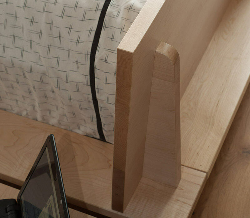 A closer detail view of the headboard joint for the hand-made Oregon platform style solid wood bed