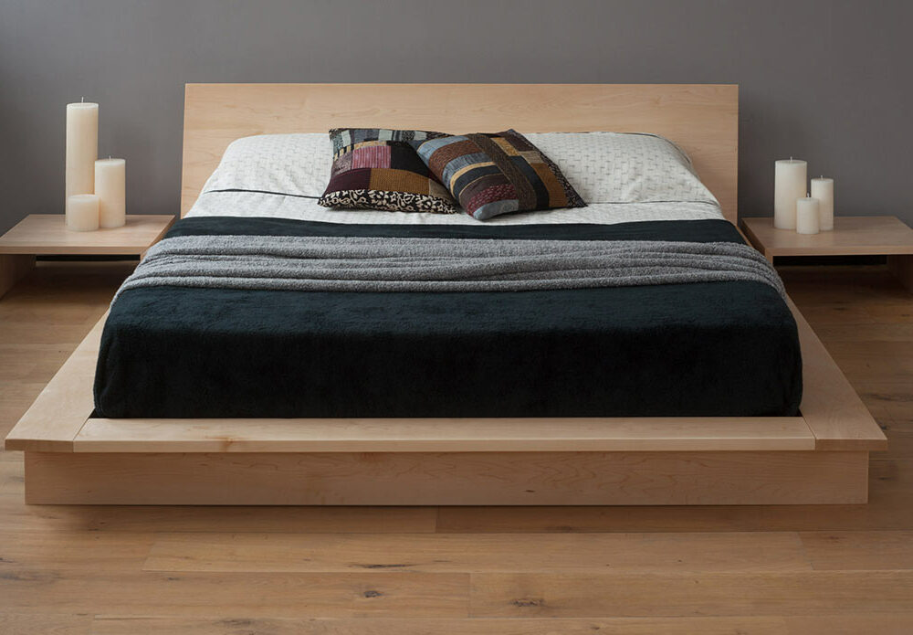 Oregon Japanese style low platform bed, here in maple