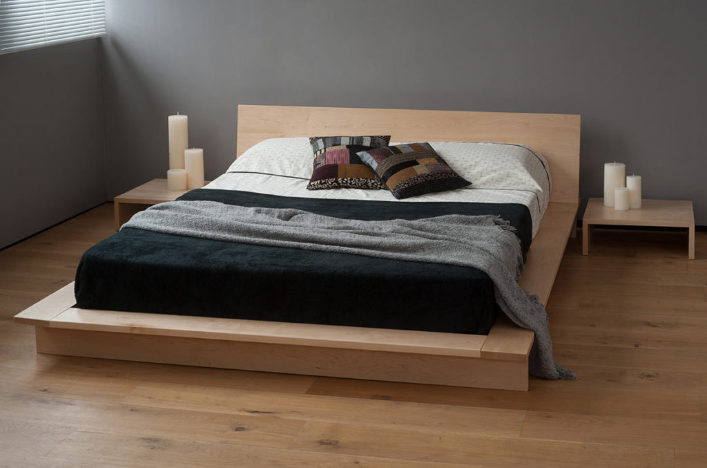 Oregon low platform style solid wood bed, shown here in maple