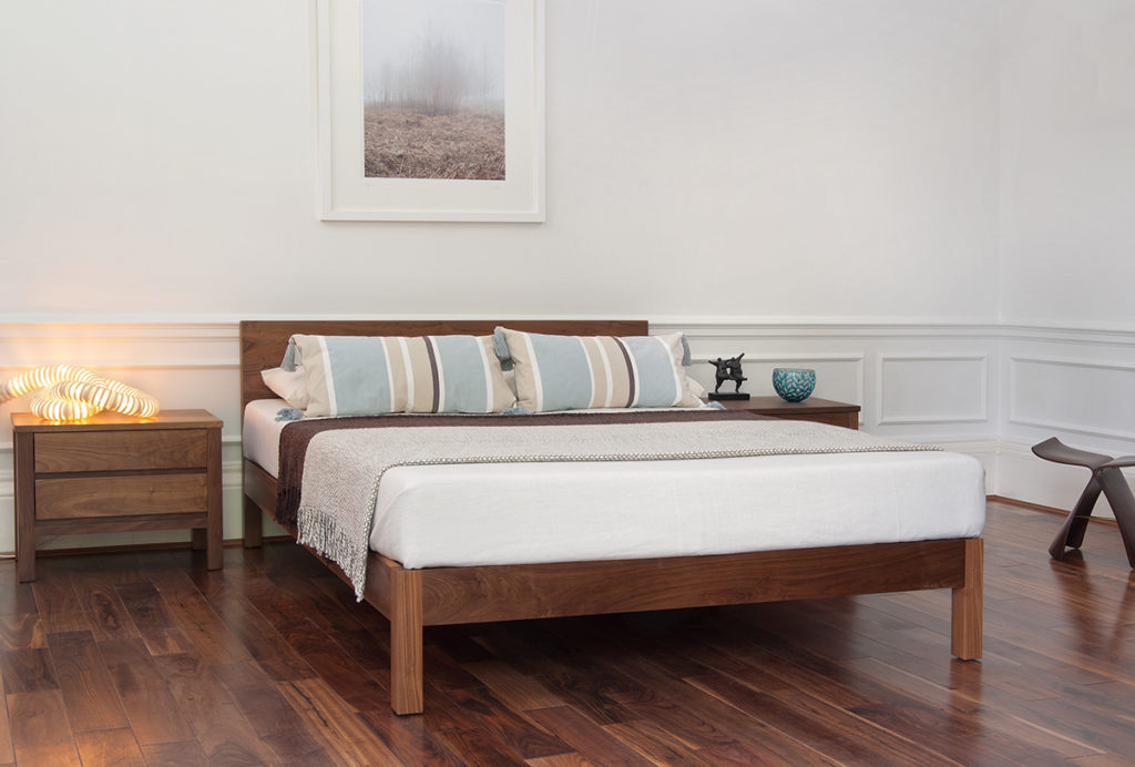 Low contemporary Walnut Sahara bed hand made in uk