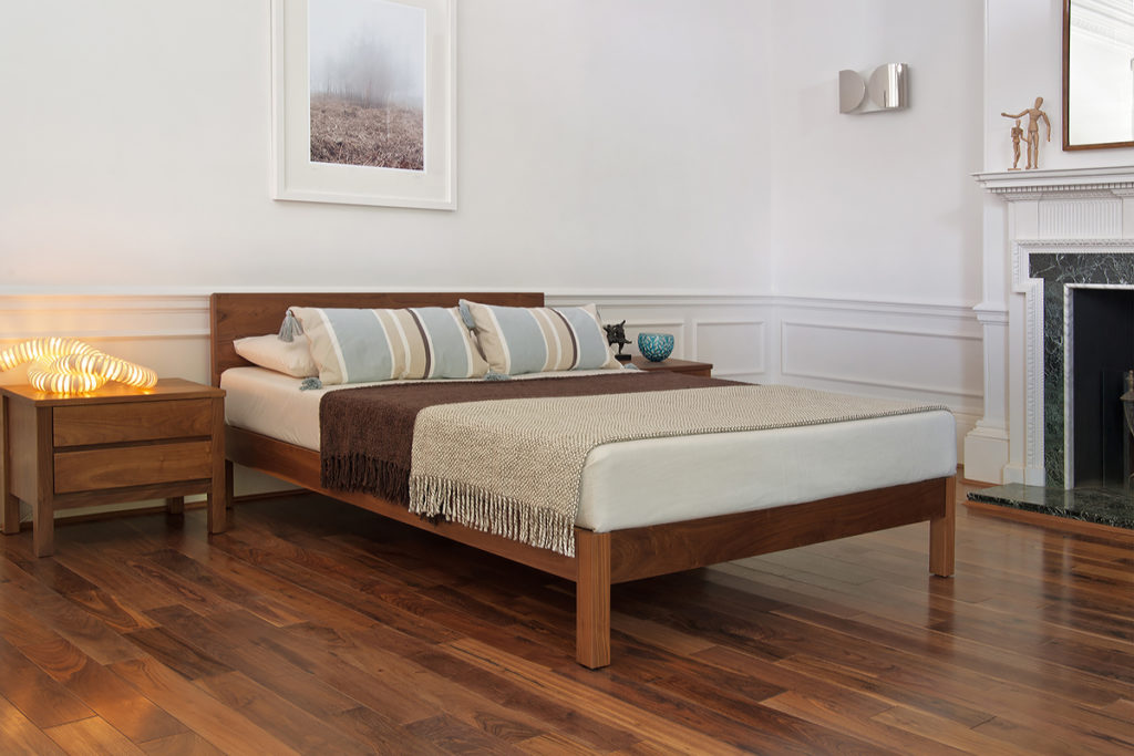 Classic Georgian bedroom setting for our contemporary wooden Sahara bed in solid walnut