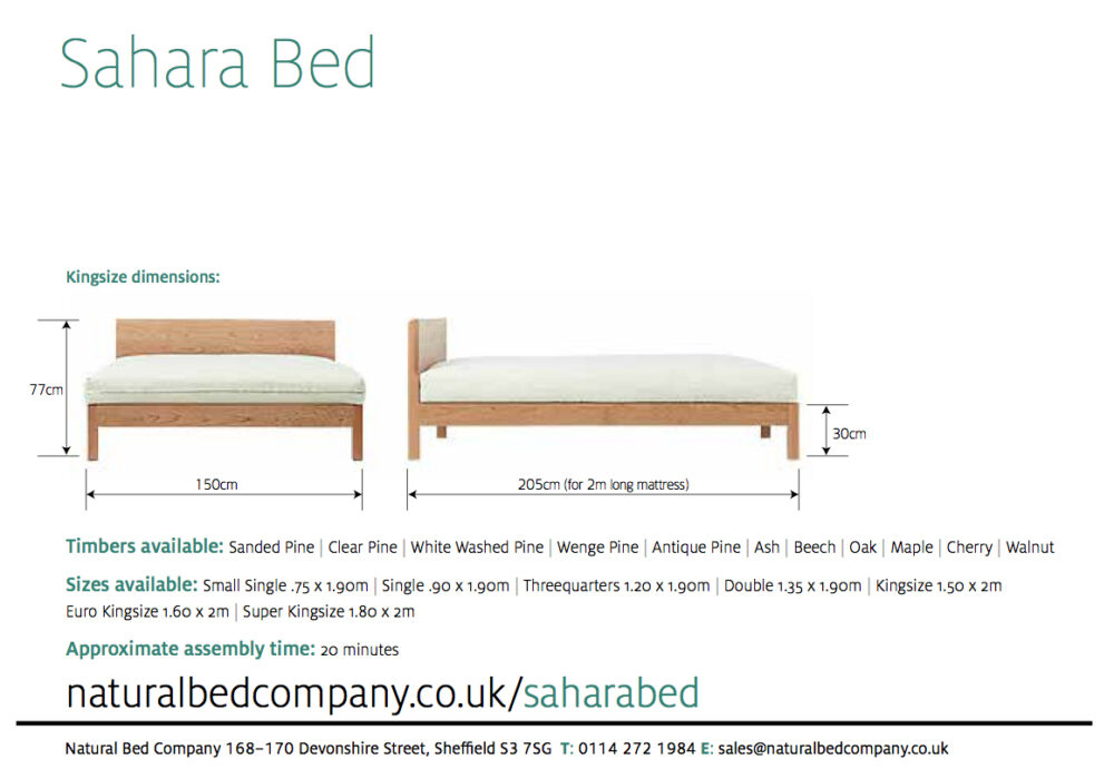sahara bed with dimensions and size options