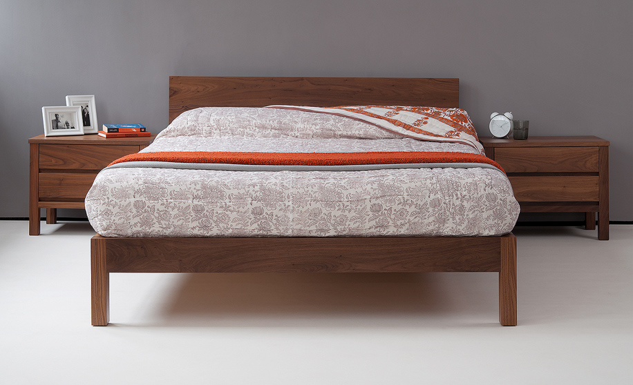 Sahara nbc made contemporary low wooden bed in solid walnut