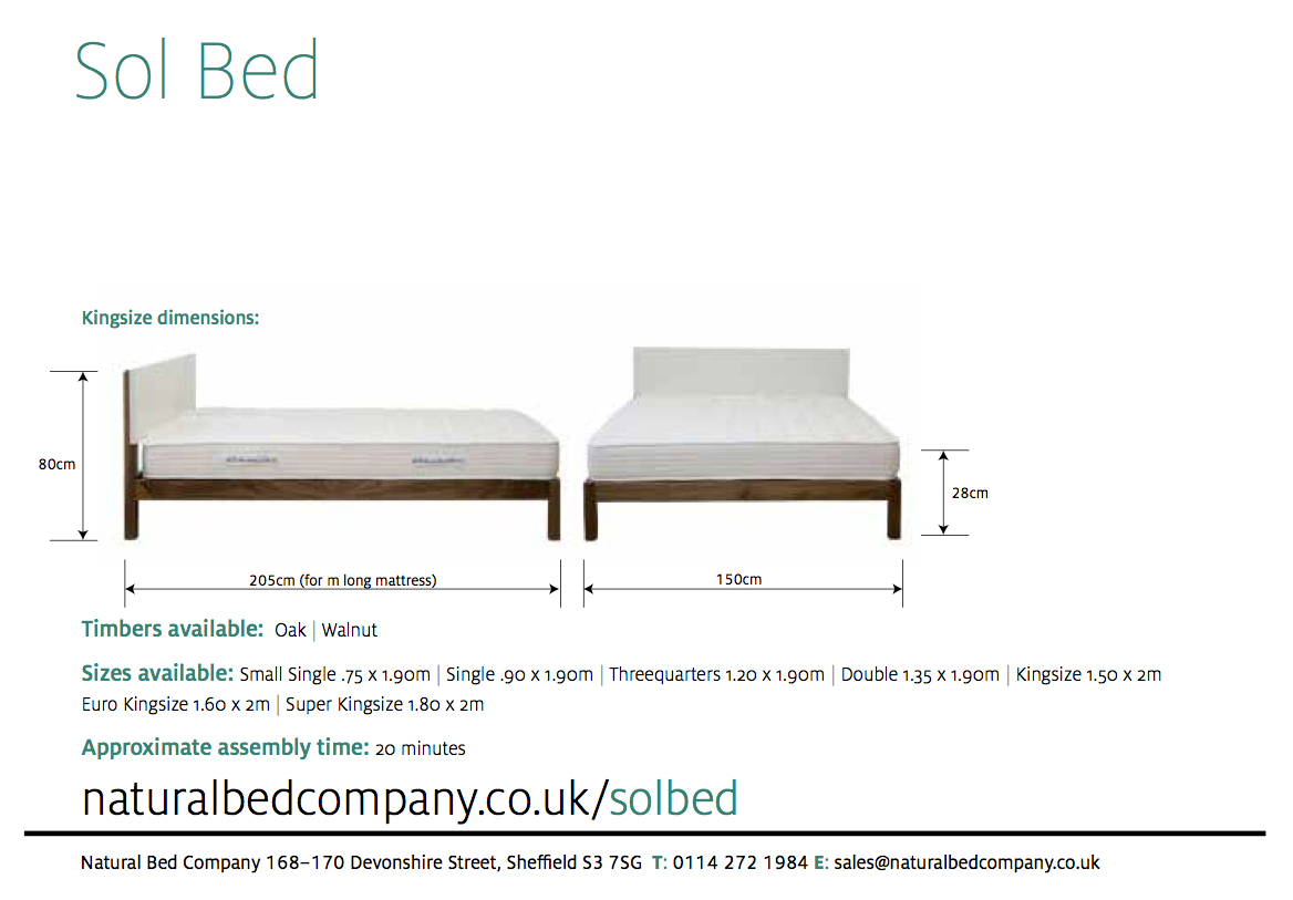 sol bed with dimensions