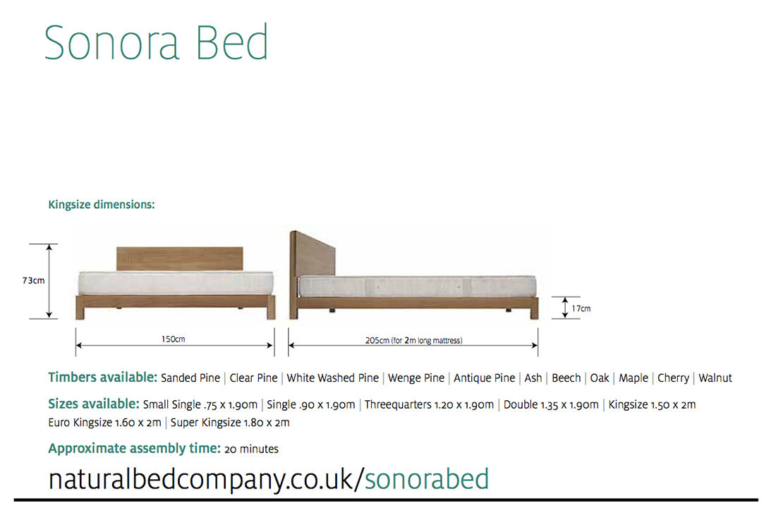 sonora wooden bed dimensions and size options