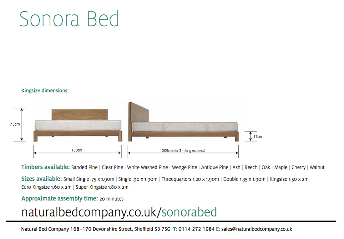 sonora bed dimensions