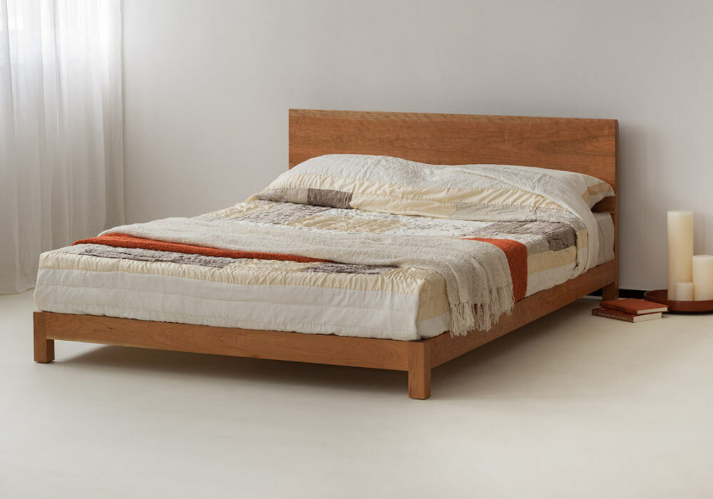 Sonora a contemporary low wooden bed here in cherry
