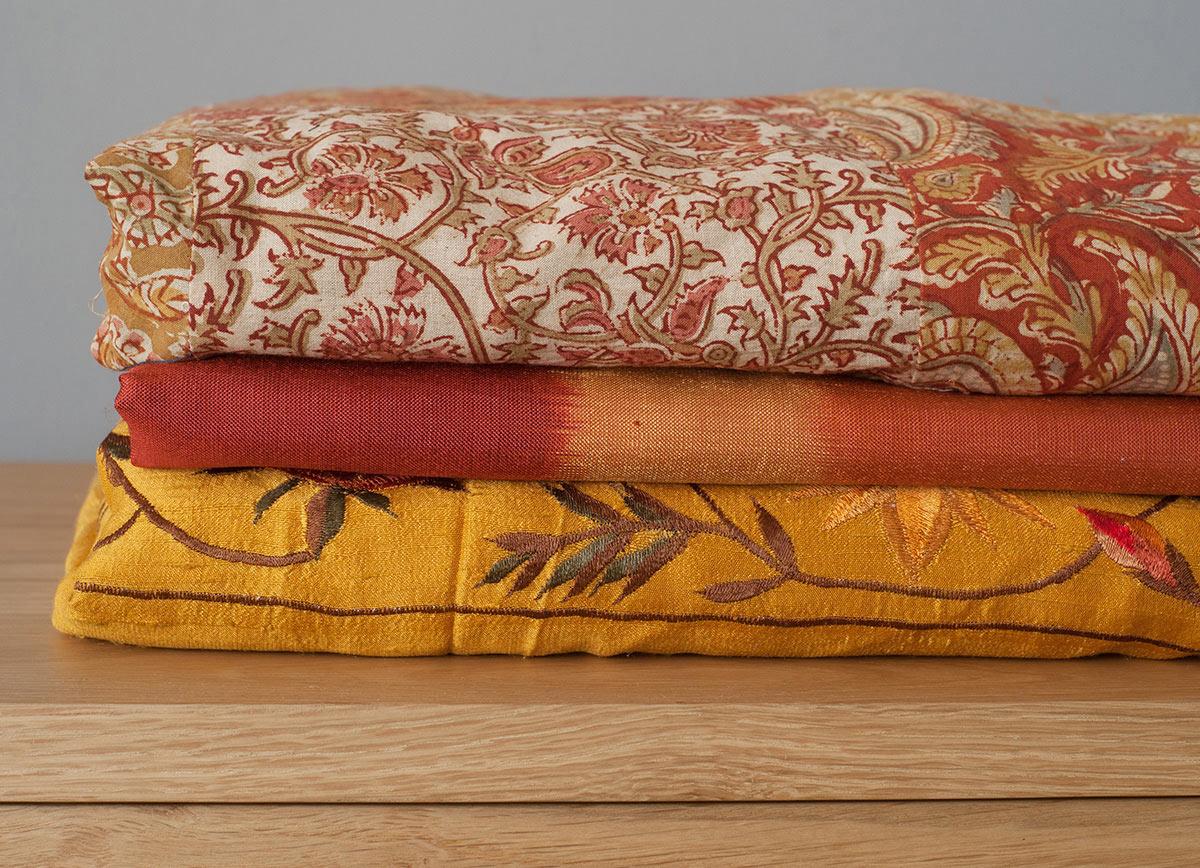 Kashmir Gold Indian Silk Duvet Cover Natural Bed