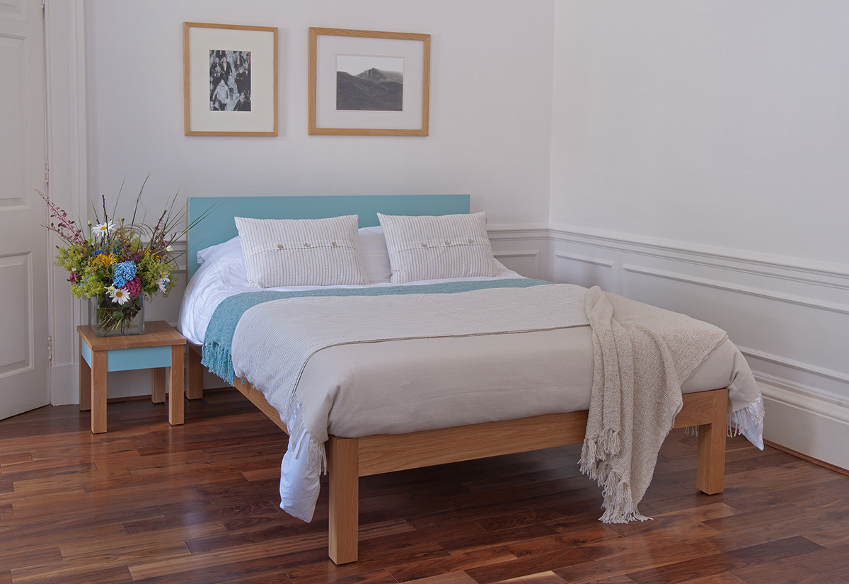 Tao Bed - Oak and Pale Blue