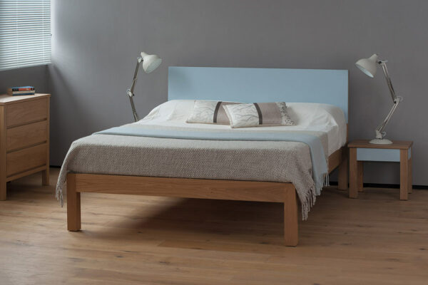 Tao contemporary wooden bed with painted headboard in the colour of your choice